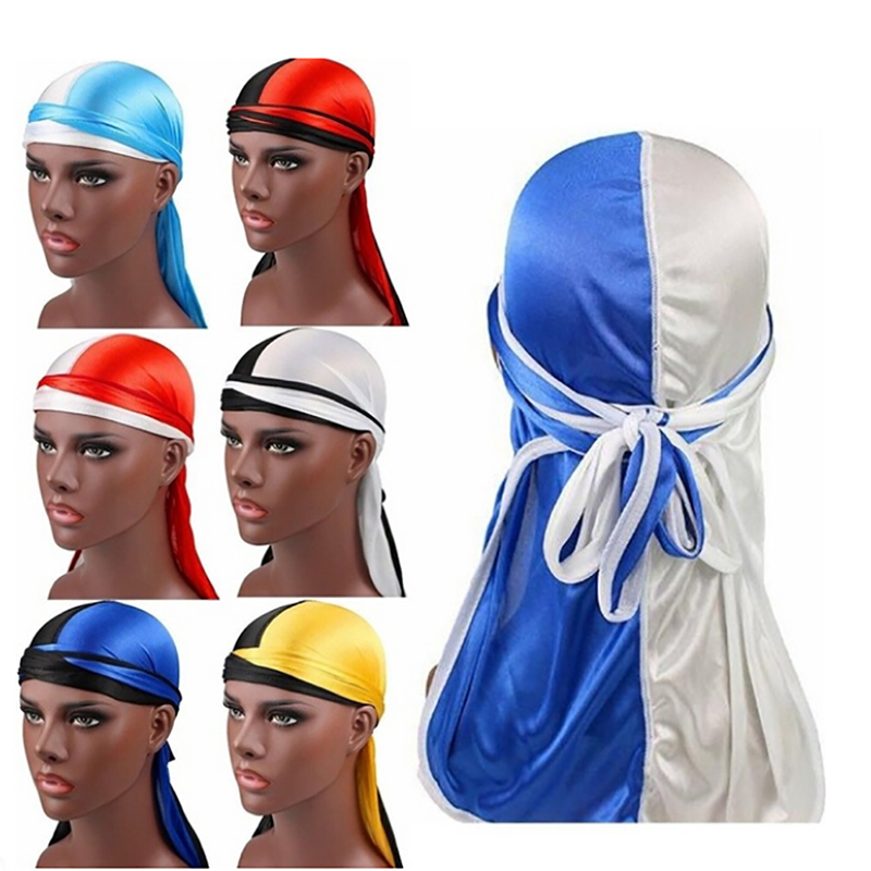 Hair Accessories Double Colors Knotted Bandana Headband <font><b>Durags</b></font> Hats For <font><b>Men</b></font> Women Soft <font><b>Silk</b></font> Patchwork Turban Headband Headwrap image