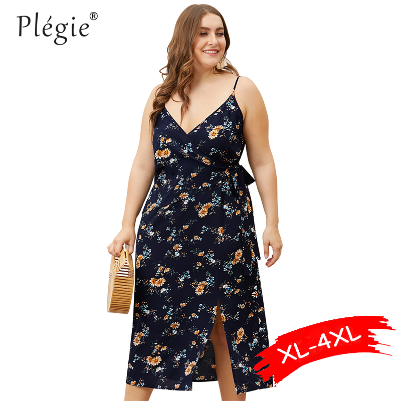 Женское платье с цветочным принтом Plegie, пляжное платье большого размера с треугольным вырезом, бантом на талии и открытой спиной, лето 2019