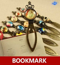 Antique bronze round bookmark , vintage metal crown bookmarks with glass gems