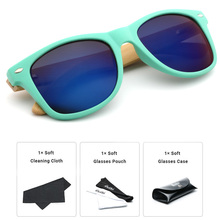 Ablibi Unique Cheap Green Bamboo Wood Temple Sunglasses for