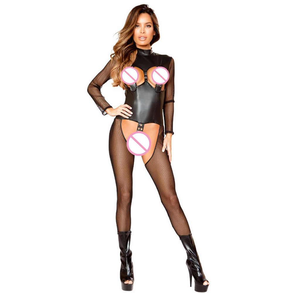 bdb84b0e1a Fishnet Lingerie Sexy Open Bust Patent Leather Bodysuit Lingerie Jumpsuit  Black Mesh Net Hollow Out Crotchless