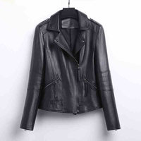 YOLANFAIRY Genuine Leather Jacket Women Real Sheepskin Leather Bomber Jackets Spring Autumn Motocycle Plus Size Coat 1804 MF560