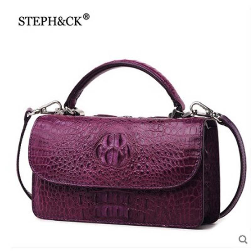 Steph amp; Schulter rose Körper Tasche Black Krokodil Red Handtasche Dame Frauen Leder purple Ck green red Kreuz nn4S1xrd
