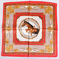 Red Small Silk Scarf 2016 Autumn Winter Ladies Accessories Small Square Scarves 53*53cm Horse Plaid Pattern Pure Silk Scarf