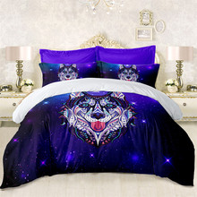 Hippie Husky Dog Bedding Set Colorful Animal Print Duvet Cover Patchwork Bed Cover White Purple Galaxy Bed Set Pillowcase D25