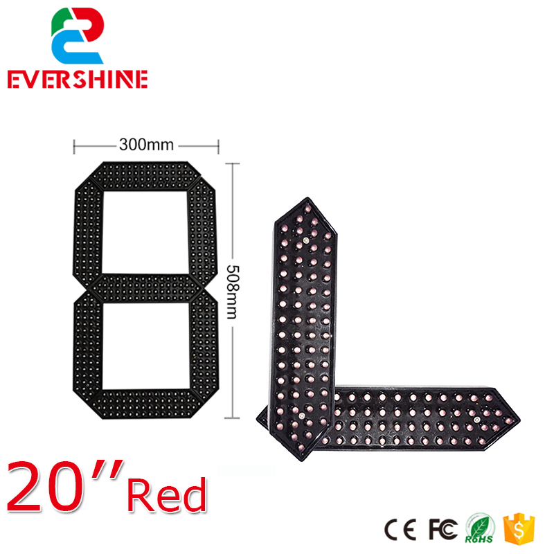 Outdoor Waterproof Module LED Digital Display 7 Segment Module 20 inch Red white green color display panel 100 pcs ld 3361ag 3 digit 0 36 green 7 segment led display common cathode