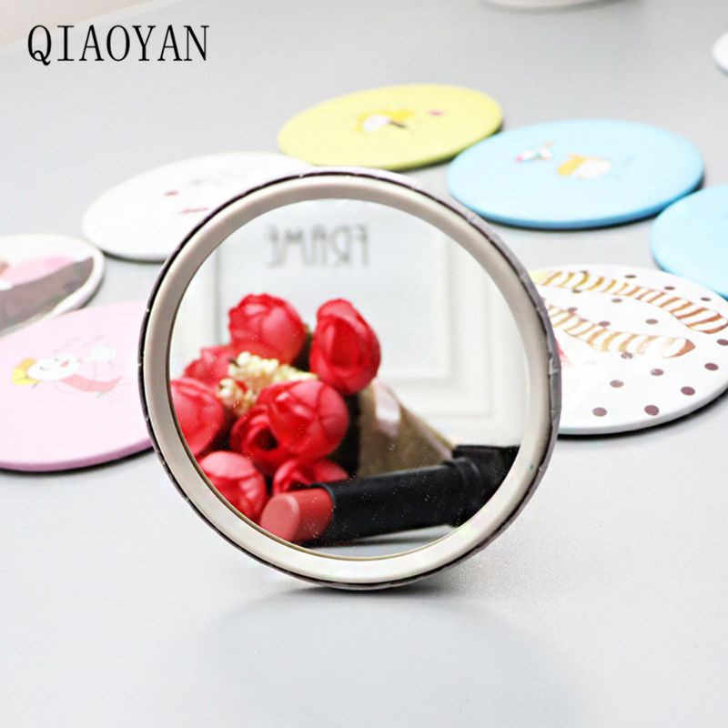 Удобные милые Мультяшные мини портативные круговые ручные зеркальные карманные портативные инструменты для макияжа