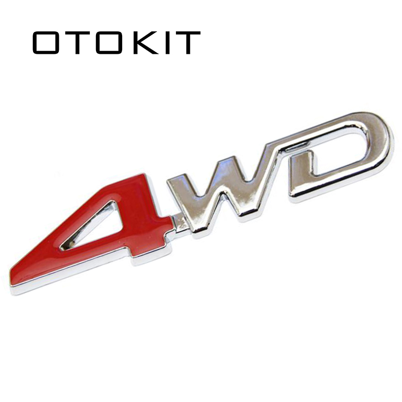 Car Tail Rear Side Metal 4x4 RC Car 4WD Sticker 3D Chrome Badge Car Emblem Badge Decal Auto Decor Styling 4WD Red for SUV Trunk red r t rt metal alloy emblem trunk badge decal sticker fit for dodge charger challenger car styling car stickers