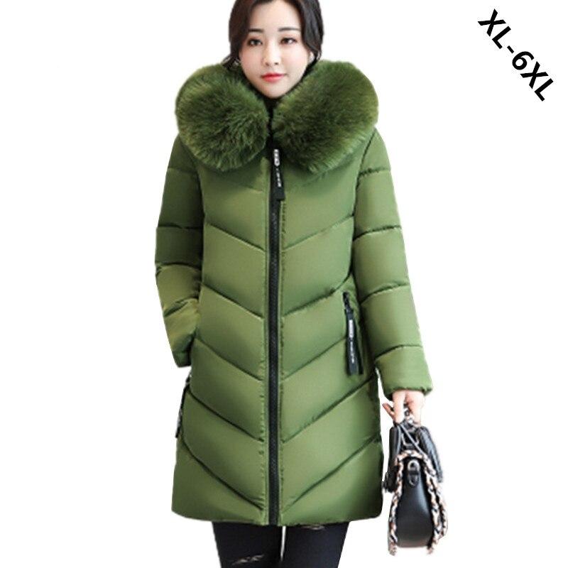 Plus size 6XL Women Winter Cotton Jacket Coats Thick Warm Parkas Fashion Hooded fur collar Slim Jacket 100KG can wear WU33