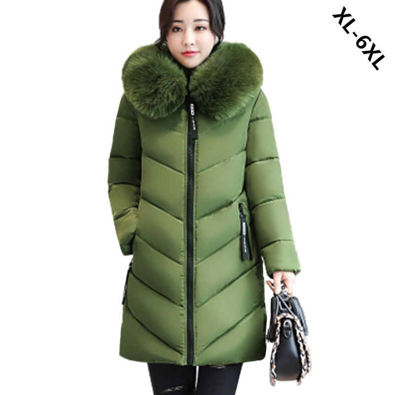 Plus size 6XL Women Winter Cotton Jacket Coats Thick Warm Parkas Fashion Hooded fur collar Slim Jacket 100KG can wear WU33 new women fur collar slim long cotton coats fashion plus size ladies cotton padded parkas winter hooded overcoat woman h4466 page 1