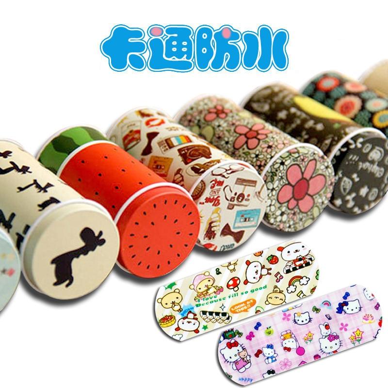 200PCS Korean Cartoon Cute Tin Paste Breathable Waterproof Band Aid Bandages Hemostasis First Aid Kit For Kids Children