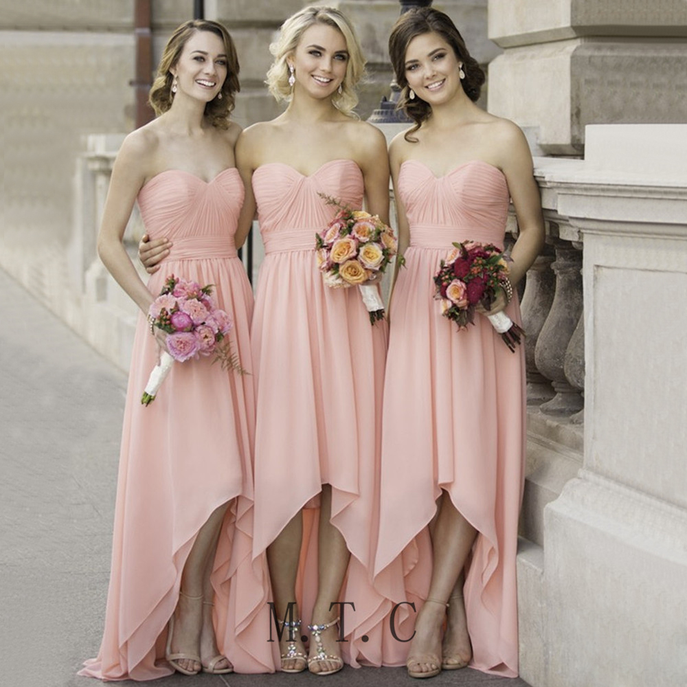 Sexy High Low   Bridesmaid     Dresses   Pleat Chiffon Strapless Floor Length Long Formal   Dress   2019 Cheap Women Maid Of Honor Gowns