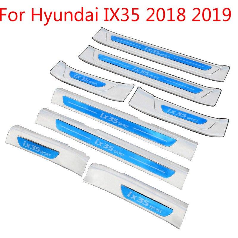 Haute qualité en acier inoxydable plaque seuil de porte bienvenue pédale voiture style accessoires pour Hyundai IX35 2018 2019 voiture-style