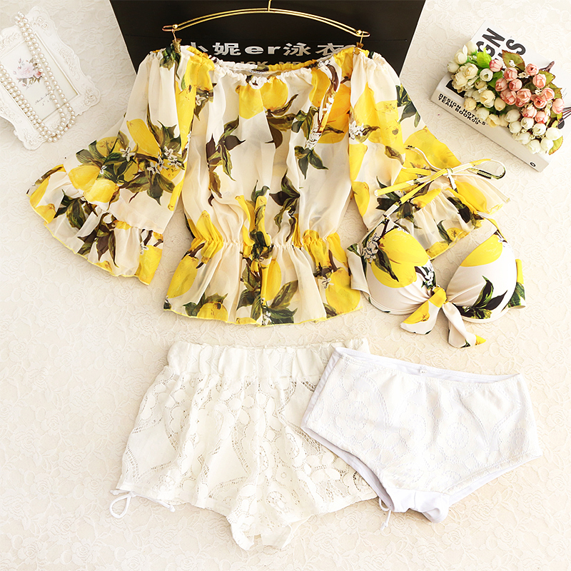 2018 Sale Split Skirt Style Swimsuit Boxer Caftans Shoulder A Conservative Small Chest Gather Thin Cover Belly Hot Swimwear anlala 2016 new swimsuit female siamese boxer skirt plus fertilizer xl cover the belly was thin steel prop gather small chest