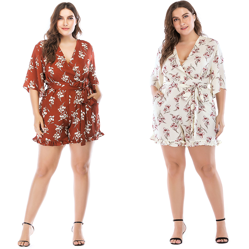 Women Sexy V Neck Bodysuit Playsuit Half Sleeve Printed Ruffled Summer Casual Beach Shorts Jumpsuit Rompers For Ladies Big Size
