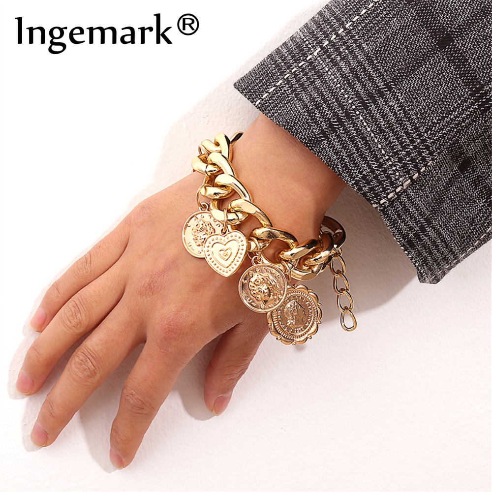 Ingemark Punk Carved Coin Heart Bracelet Bangle Bohemian Circle Queen Golden Thick Chain Tassel Pendant Bracelet Women Jewelry bangle