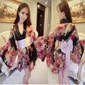 Nueva Sexy Excelentes Mujeres Colorido Floral Satén Resbalones Camisón Exótico Bowknot Grande Kimono Fetiche Uniforme Maid Lencería Cosplay