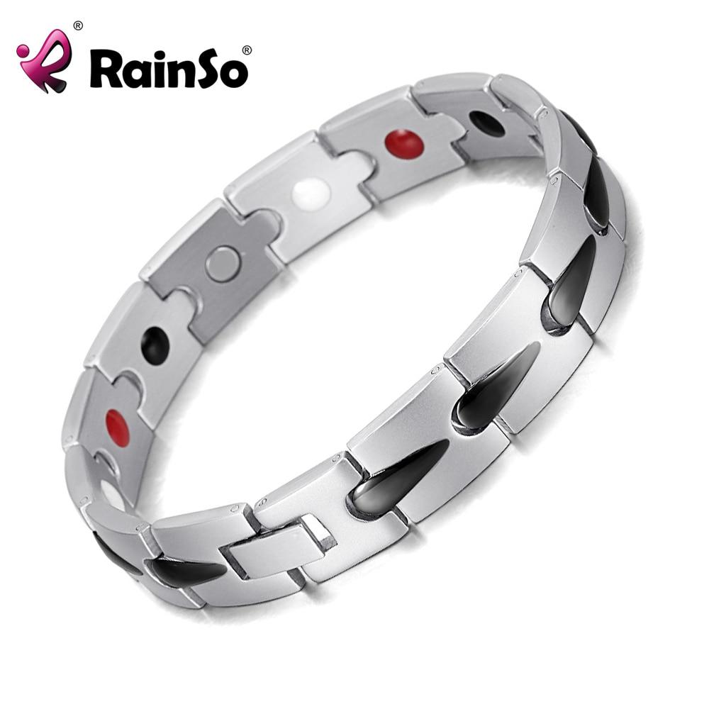 f8165cf8071c € 16.53 |Rainso salud hombres joyería titanio acero 4 elementos bio de  iones negativos pulsera de plata negro plateado, terapia magnética OSB ...