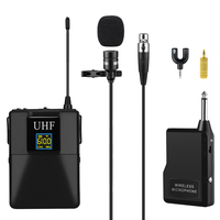 Microphone Professional UHF Wireless Microphone System Lavalier Lapel Mic Receiver+Transmitter for Camcorder Recorder Microphone