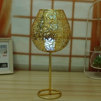 Hollow Wine Glass Model Candle Holders Golden Metal Iron Candle Lantern Creative Home Decoration chandelier bougeoir sur pied