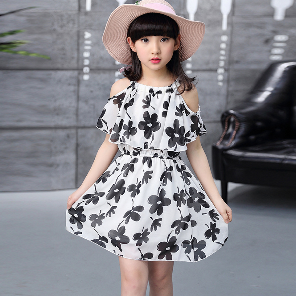 Summer Girls Dress Toddle Kids Clothes Sleeveless Floral Princess Party Dress A-Line Beach Child Dresses for Teenager 8 10
