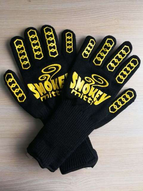 Yellow Double sided silicone Barbecue BBQ Tools Heat Resistant Fireplace BBQ Grill Kitchen Gloves