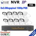 8CH 1080 P POE NVR комплект POE NVR 8 шт. 1080 P 2.0 2,0-мегапиксельная 3.6 мм лен водонепроницаемая пуля ночного видения ip камеры системы видеонаблюдения