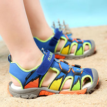 Children boys sandals genuine leather summer shoes 2-13 years child cut-outs sandals kids canvas rain breathable flats shoes