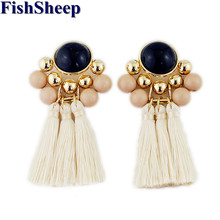FishSheep Statement Acrylic Beads Drop Tassel Earrings For Women Bohemian Ethnic Gold Color Long Fringe Jewelry