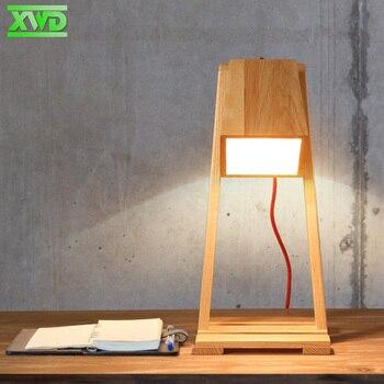 Modern Study Desktop Wooden Table Lamp E27 Lamp Holder 110-240V Foyer Bedroom Indoor Lighting Free Shipping