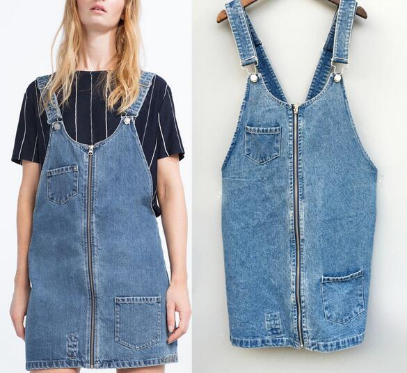182a2c56e8c US $29.99 |VogaIn 2016 New Fashion Women Blue Washed Denim Overall Mini  Dress with Wide Straps Front Zipper Side Pockets-in Dresses from Women's ...