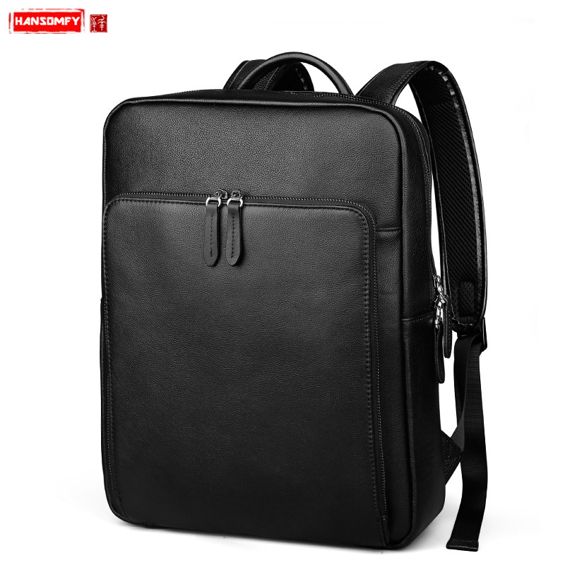 New Genuine Leather men s backpack fashion male laptop shoulder bag travel business bags large capacity