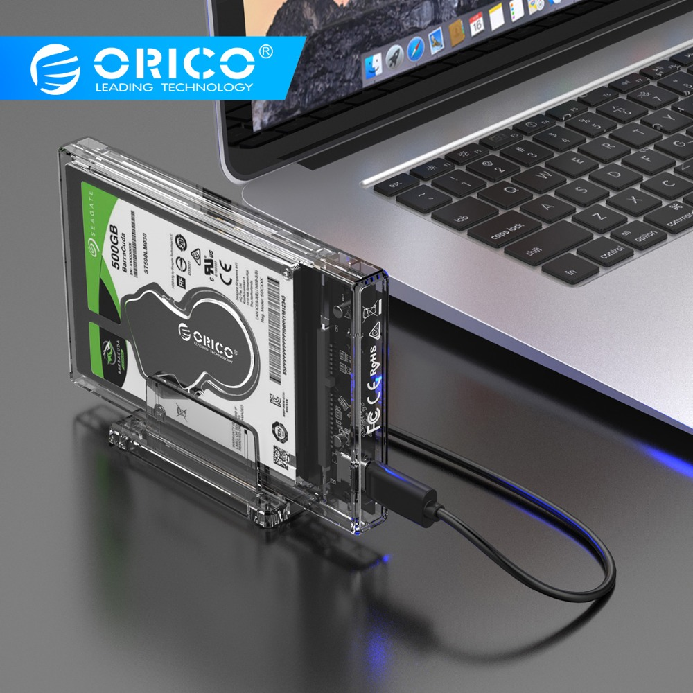 ORICO 2.5 Inch Transparent Enclosure USB3.0 Hard Drive Case With Stand 5Gbps HDD Case USB C Hard Drive Case Support 10Gbps UASP