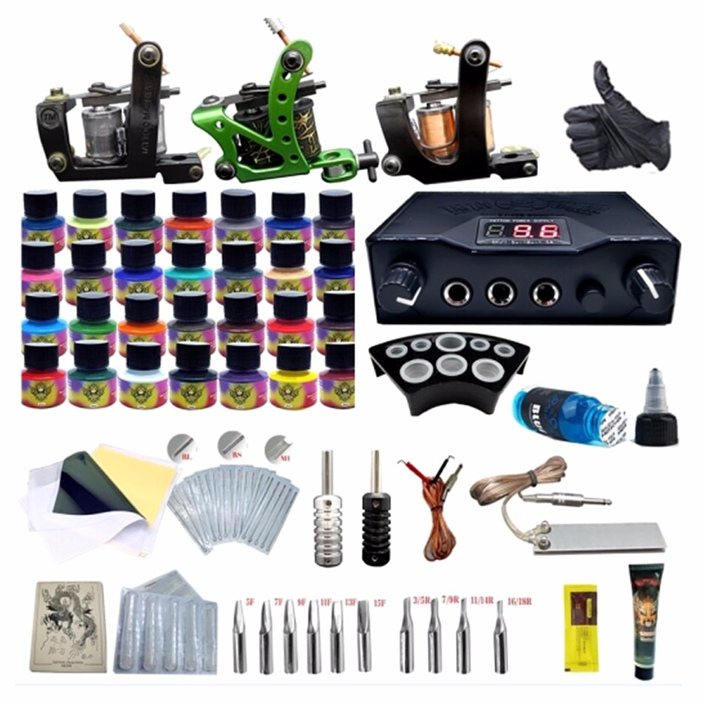 Complete Equipment 3 Tattoo Machine LCD Dual Power Supply 28 Ink Tattoo Needles Accessories Complete Kit Complete Equipment 3 Tattoo Machine LCD Dual Power Supply 28 Ink Tattoo Needles Accessories Complete Kit