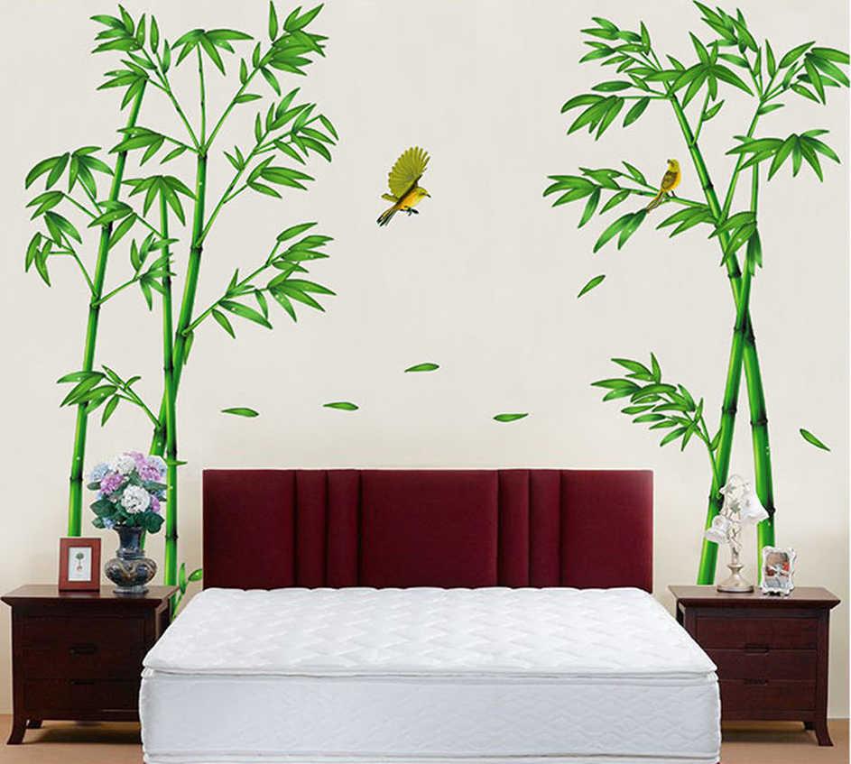 & Съемный зеленый бамбуковый лес глубины стикер на стену творческий Китайский стиль DIY дерево наклейки для домашнего декора для украшения гостиной