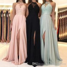 2019 Chiffon Long Bridesmaid Dresses A-line Jewel Neck Halter Lace Applique Floor Length Draped Side Split Formal Evevning Gown