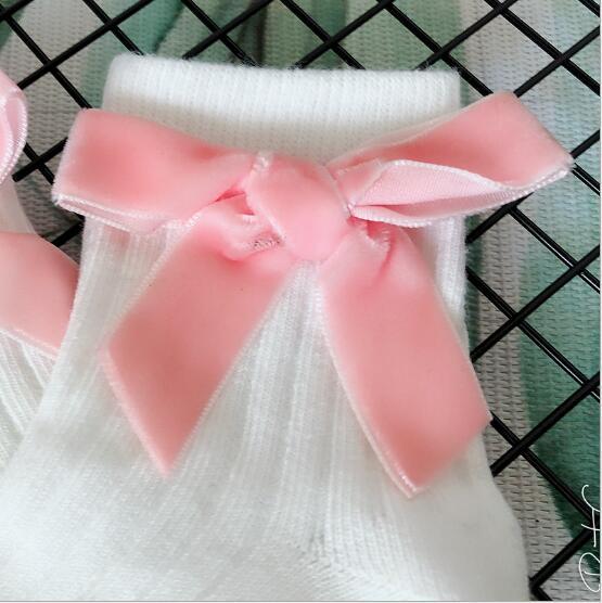Girls Bow Socks New Autumn Winter Child Candy Color Princess Lace Cotton Sweet Kids Children Socks 6