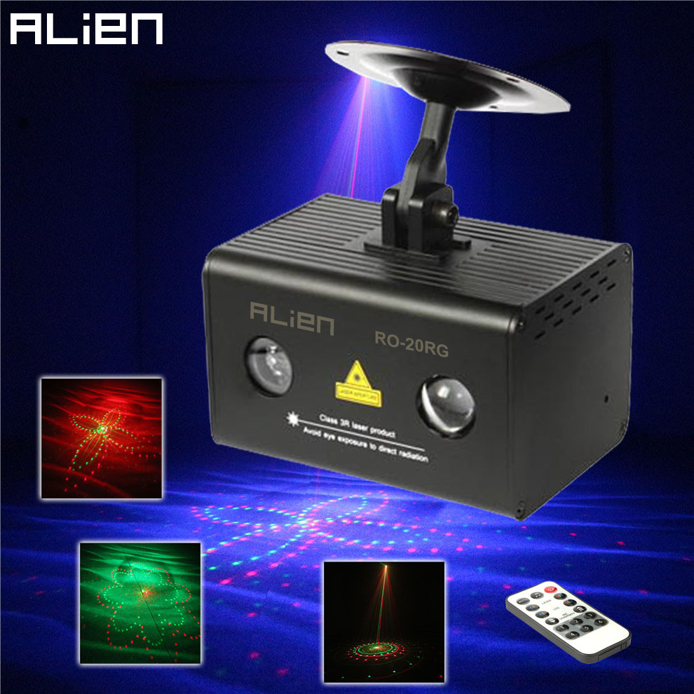 ALIEN Remote 20 Patterns RG DJ Laser Stage Lighting Effect Galaxy LED RGB Party Disco Dance Holiday Xmas Laser Show Light the konjac sponge co спонж для умывания лица с зеленой глиной для расширенных пор dragon green clay с крючком в комплекте