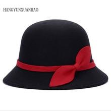2019 Autumn And winter Fashion Vintage Ladies Wool Fedora Hat Bucket Dome Bell Bow Felt Hats Cloche Derby Women Cap Hat