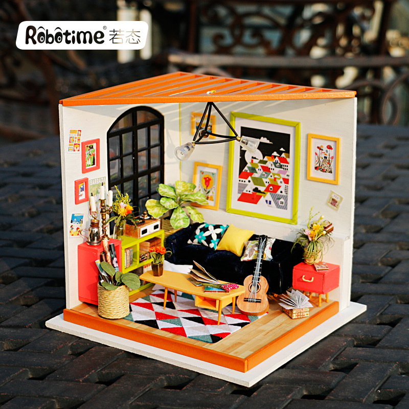 Robotime DIY Soho Time with Furnitures Children Adult Miniature Wooden Doll House Model Building Kits Dollhouse Toy Gift