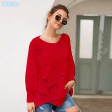 High Quality Women Knitted Pullovers Long Sweaters Casual Autumn Winter Irregular Loose Red Black Feamle New Arrivals