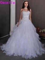 2017 Princess Sweetheart Real Wedding Dresses Ruffles Organza Embroidery Beaded Corset Back Bridal Gowns Vestidos De