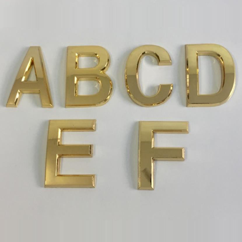 Gold Silver A-F 0-9 House Door Address Letter And Number Plate Plaque Room Gate Sticker Plate Sign Home Hotel Door Gate Digits