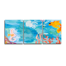Laeacco Watercolor 3 Panel Cartoon Underwater World Posters and Prints Wall Artwork Canvas Painting Home Living Room Decoration