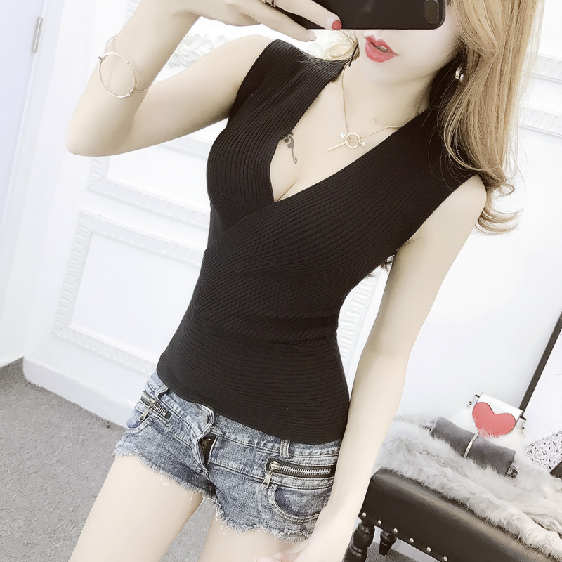 Summer Women Fashion Slim Deep V-neck Knitting   Tank     Tops   Girls Knitted Camisole Solid Sleeveless Tee shirts JM280