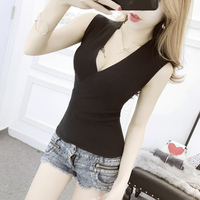 Summer Women Fashion Slim Deep V Neck Knitting Tank Tops Girls Knitted Camisole Solid Sleeveless Tee