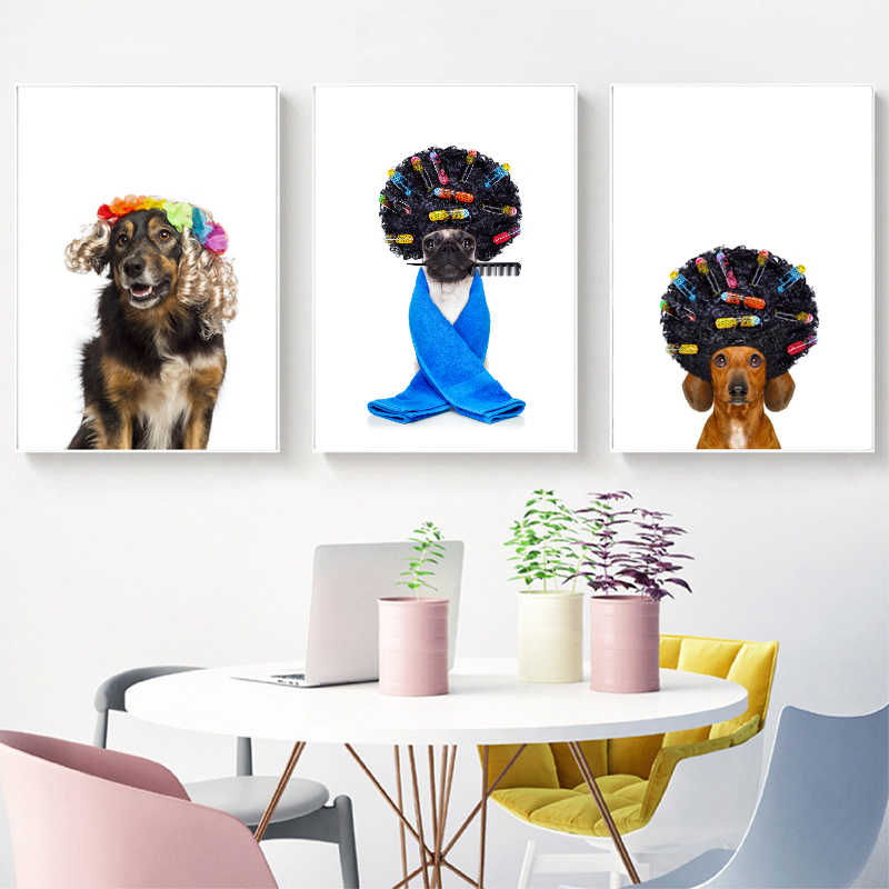 Pug Dog With Hair Rulers Posters and Prints Funny Dachshund or Sausage Dog Border Collie Art Canvas Painting Hairdresser Gift