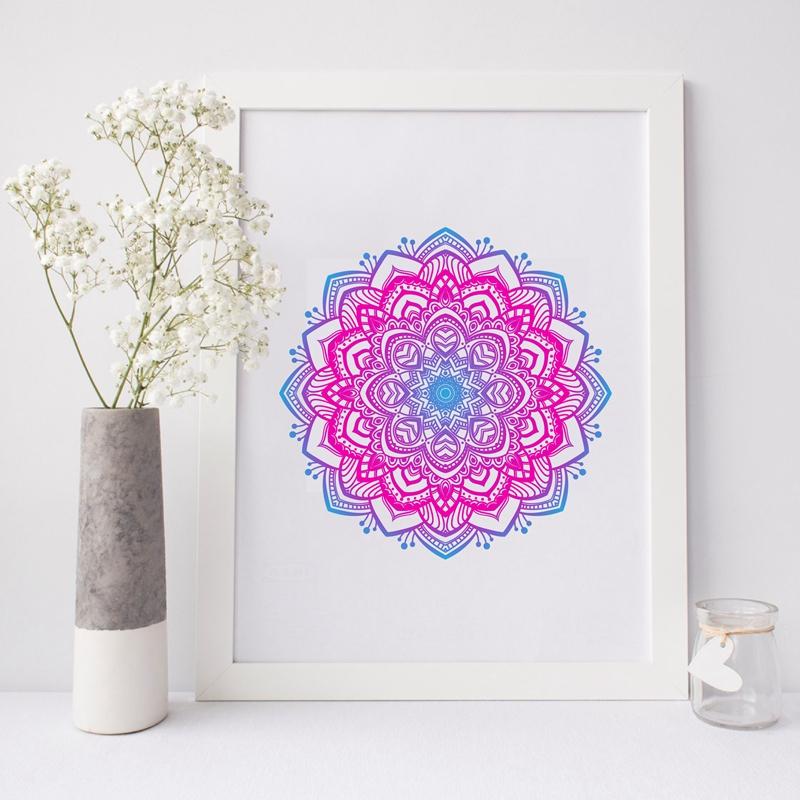 Toile, tableau mandala rose bleu indigo et violet