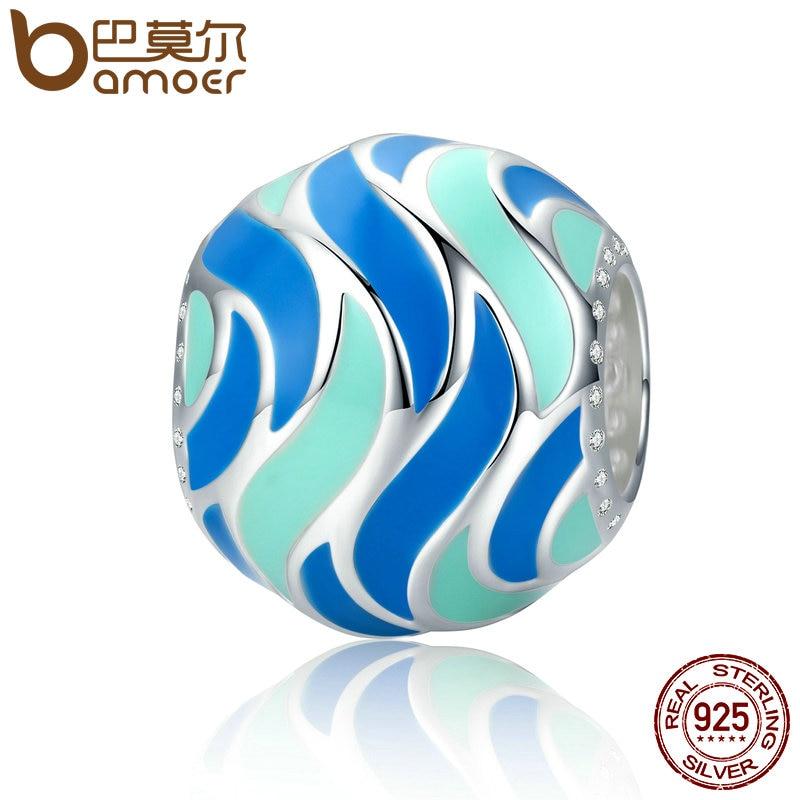 BAMOER Authentic 100% 925 Sterling Silver Tropical Fish Pattern Enamel Charm Beads fit Bracelets Bangles DIY Jewelry SCC293 magic fish bracelets