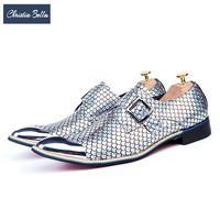 Christia Bella British Style Silver Party Wedding Men Dress Shoes Genuine Leather Buckle Men Oxford Shoes